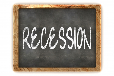 A Colourful 3d Rendered Illustration of a Blackboard Showing Recession illustration