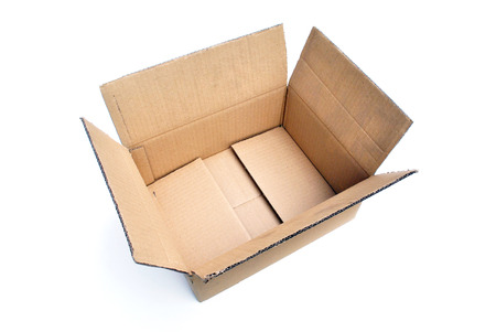 A Isolated Photo of an open Cardboard Box ready to be use for packaging photo