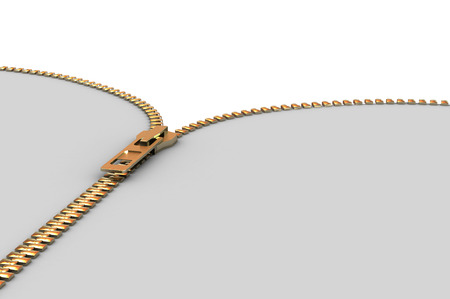closing: A Colourful 3d Rendered Illustration of a Gold Zipper Opening Stock Photo