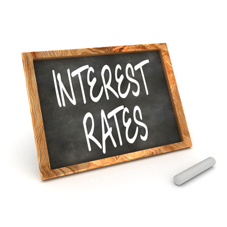 interest rates: A Colourful 3d Render Interest Rates Concept Blackboard Illustration Stock Photo
