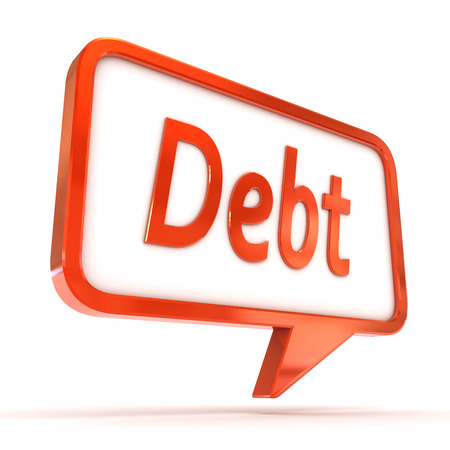 A Colourful 3d Rendered Concept Illustration showing Debt writen in a Speech Bubble illustration