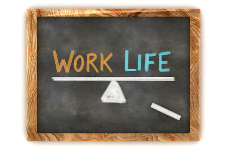 A Colourful 3d Rendered Concept Illustration showing a balance between work and life, written on a blackboard illustration