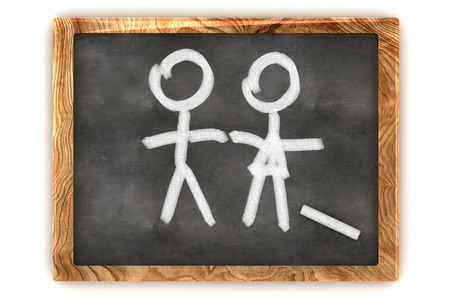 A Colourful 3d Rendered Concept Illustration showing a Man and a Lady on a Blackboard illustration