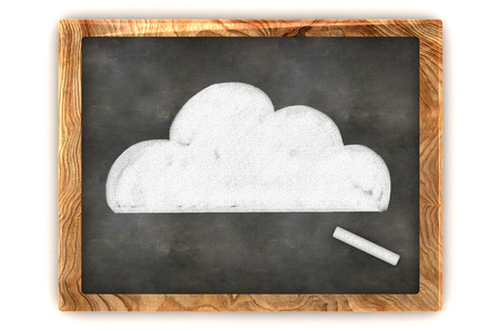 A Colourful 3d Rendered Concept Illustration showing a Cloud Drawn on a Blackboard illustration