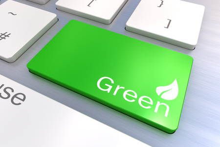 injunction: A Colourful 3d Rendered Illustration showing a Green Eco Concept on a Computer Keyboard Stock Photo
