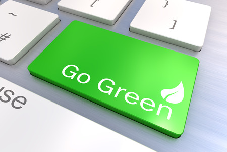 A Colourful 3d Rendered Illustration showing a Green Eco Concept on a Computer Keyboard illustration