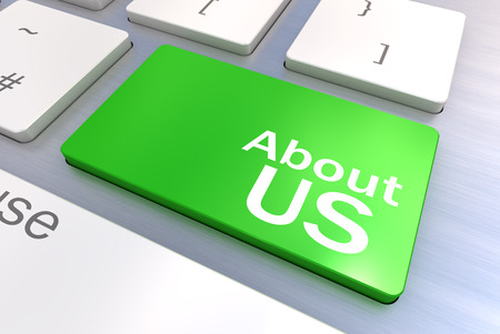 feedback link: Computer keyboard rendered illustration with an About Us Concept