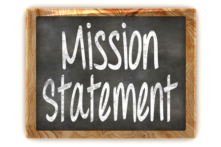A Colourful 3d Rendered Illustration of a Blackboard showing Mission Statement Stock Photo
