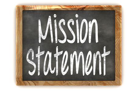 A Colourful 3d Rendered Illustration of a Blackboard showing Mission Statement Standard-Bild