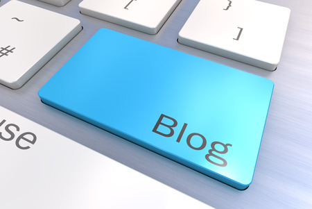 link up: A Colourful 3d Rendered Illustration showing Blog on a Computer Keyboard