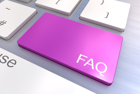 A Colourful 3d Rendered Illustration showing a FAQ Concept on a Computer Keyboard illustration