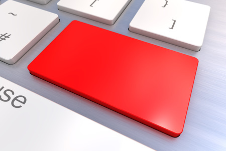 A Colourful 3d Rendered Illustration showing a Blank Red Keyboard concept on a Computer Keyboard illustration