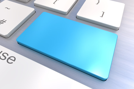 A Colourful 3d Rendered Illustration showing a Blank Blue Keyboard concept on a Computer Keyboard illustration