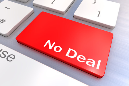 A Colourful 3d Rendered Illustration showing a No Deal Concept Keyboard Stock Photo