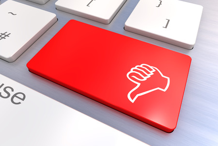 Computer keyboard rendered illustration with thumb gesturing hand key illustration