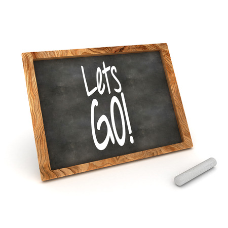lets: A Colourful 3d Rendered Illustration of a Blackboard showing Lets Go! Stock Photo
