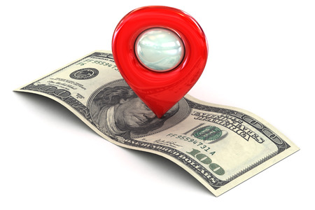 A Colourful 3d Rendered Map or GPS Marker Icon showing a persons route to finance, wealth and success photo