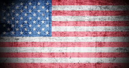 textured paper background: A Colourful Illustration on an American Flag in a Grunge Style