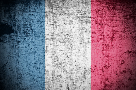 A Colourful Grunge style French Flag Illustration