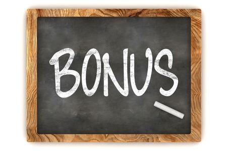 additional compensation: A Colourful 3d Rendered Blackboard Illustration Showing Bonus