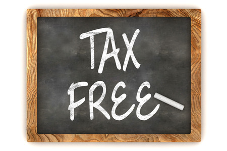 duty free: A Colourful 3d Rendered Blackboard Illustration Showing Tax Free