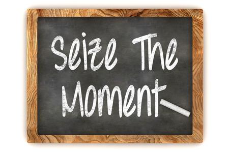 """action plan: Una colorida 3d rindi� la ilustraci�n de pizarra que muestra """"Aprovecha el momento '"""