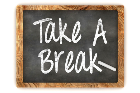 take a breather: A Colourful 3d Rendered Blackboard Illustration Showing Take a Break Stock Photo