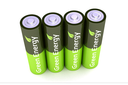 A Colourful 3d Rendered Green Eco Power Batteries Illustration illustration