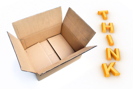 outside the box thinking: A Colourful 3d Rendered Illustration showing the concept of Thinking outside the Box Stock Photo