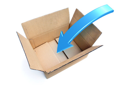 An opened box with a Rendered Arrow showing a Packing Concept photo