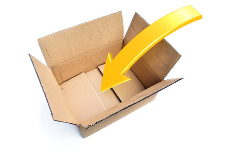 packing tape: An opened box with a Rendered Arrow showing a Packing Concept Stock Photo