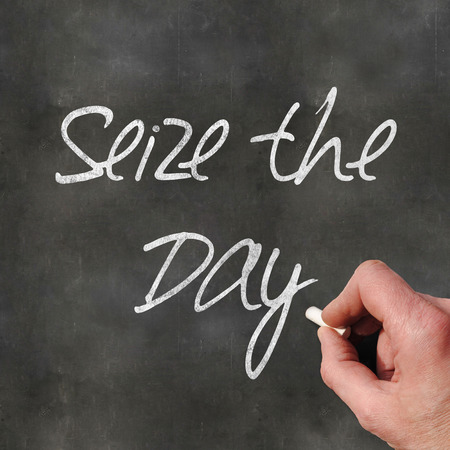 seize: A Colourful 3d Rendered Concept Illustration showing Seize the Day written on a Blackboard Stock Photo