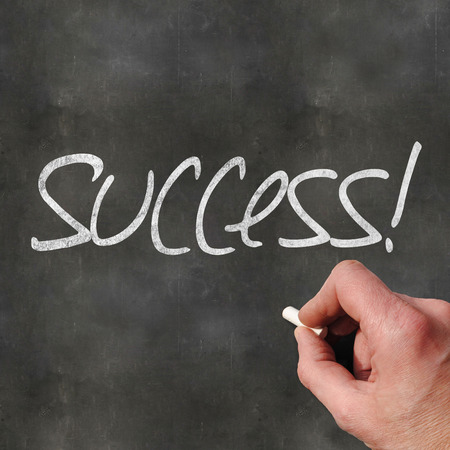 depends: A Colourful 3d Rendered Concept Illustration showing Success written on a Blackboard Stock Photo