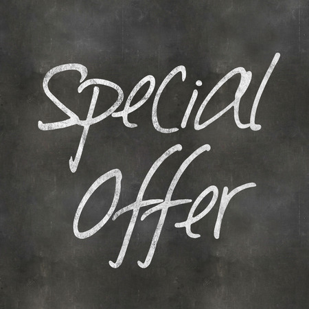 out of context: A Colourful 3d Rendered Concept Illustration showing Special Offer written on a Blackboard