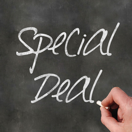 out of context: A Colourful 3d Rendered Concept Illustration showing Special Deal written on a Blackboard