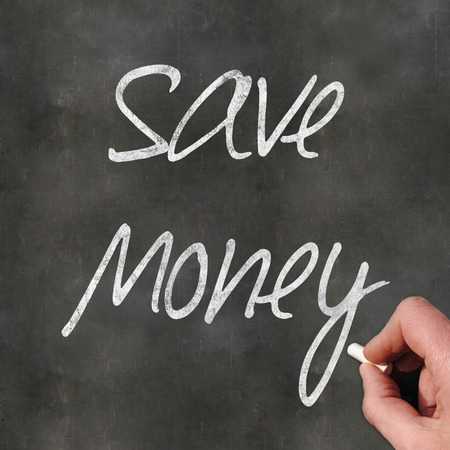 earn money online: A Colourful 3d Rendered Concept Illustration showing Save Money written on a Blackboard Stock Photo