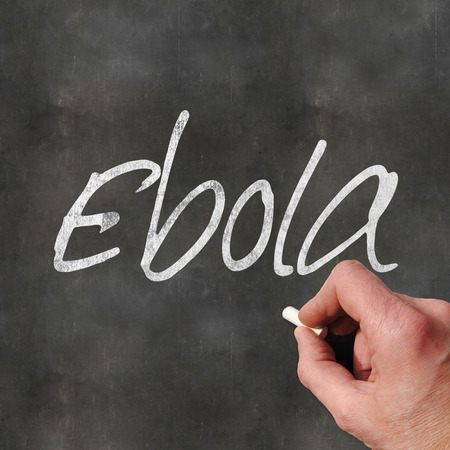 disease patients: A Colourful 3d Rendered Concept Illustration showing a hand writting Ebola on a blank blackboard