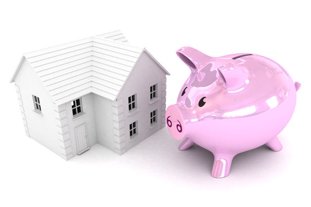 piggybank: A Colourful 3d Rendered Illustration showing a Piggybank saving for a property Stock Photo