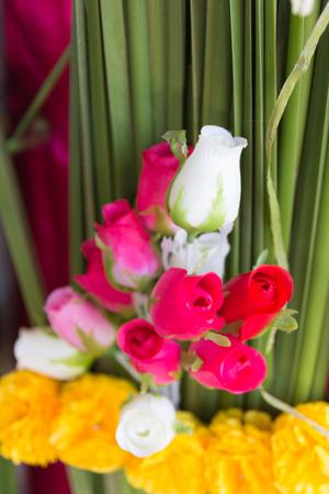 softness: softness of fabric roses flower. Stock Photo