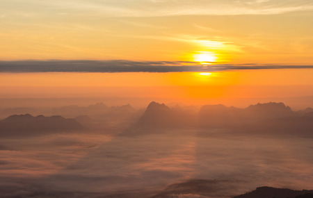 loei: Sunrise at Phukradung National Park, Thailand.