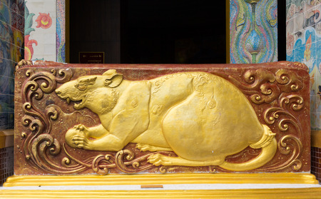 ratchasima: Chinese zodiac, Sculpture of the Year of the Rat in Wat Ban Rai , Nakhon Ratchasima province, Thailand.