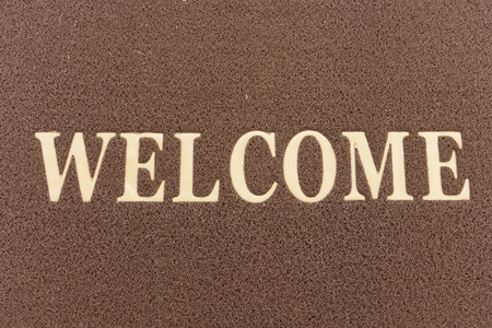 welcome mat: The new doormat of welcome text. Stock Photo