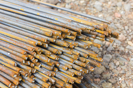 strong base: Steel bars used in construction, Steel bars close- up background.