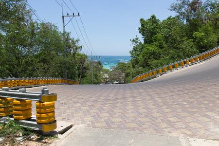 blocking: Plastic barriers blocking the road.