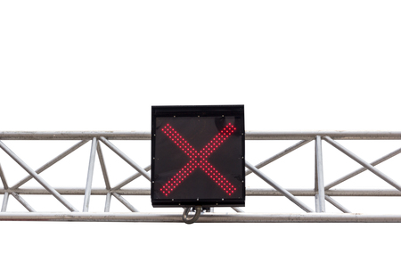 x stand: A traffic light shows red light, sign X.