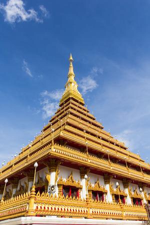 khon: Beautiful thai temple with sky, Khon Kaen province, Thailand. Stock Photo