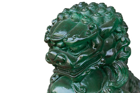 Chinese Jade Lion Statue on white background. Stock Photo
