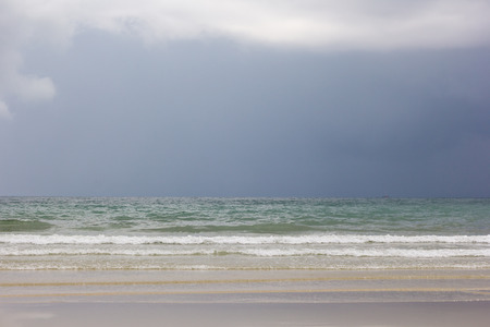 inclement weather: Rain cloud in the horizon of sea at koh chang, Trat, Thailand.