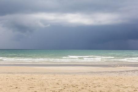 inclement: Rain cloud in the horizon of sea at koh chang, Trat, Thailand.