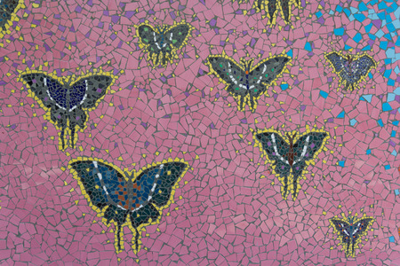 mosaic: Abstract, Natural and butterfly pattern ceramic tile.